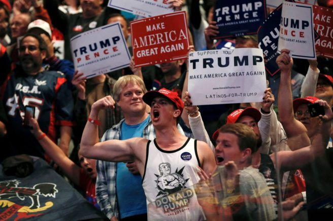 Supporters of Republican U.S. presidential nominee Donald Trump cheer at a campaign rally in Wilkes-Barre